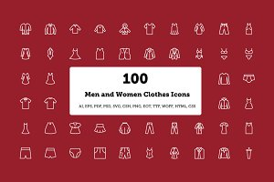 100 Men and Women Clothes Icons