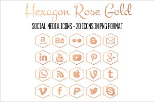 Social Media Icons-Hexagon Rose Gold