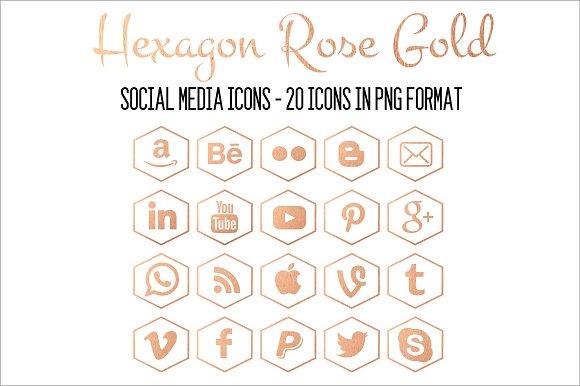 Social Media Icons-Hexagon Rose Gold