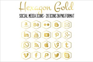 Hexagon Gold-Social Media Icons