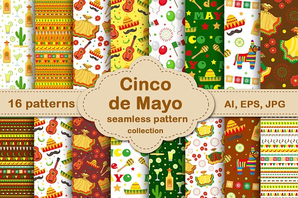 Cinco de Mayo seamless patterns set