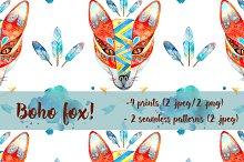 Boho fox. Watercolor illustration.