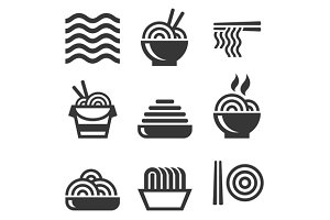 Noodle Icons. Asian Food Bar Logos