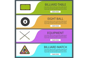 Billiard banner templates. Vector