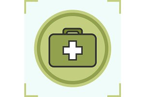 Military first aid kit icon. Vector