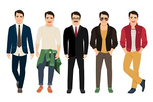 Young men in different male clothes