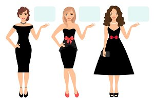 Women in black dress presenting product