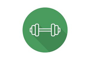 Gym barbell icon. Vector