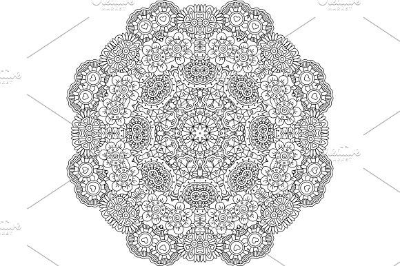 Round Mandala Decorative Floral Element