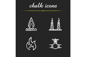 Gas industry. 4 icons. Vector