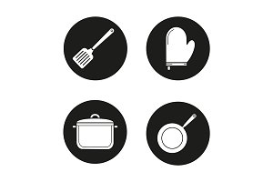 Kitchenware. 4 icons. Vector