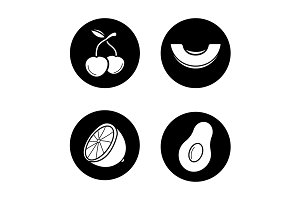 Fruit. 4 icons. Vector