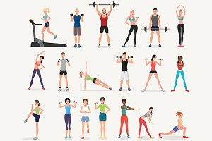 Sport gym & fitness people set