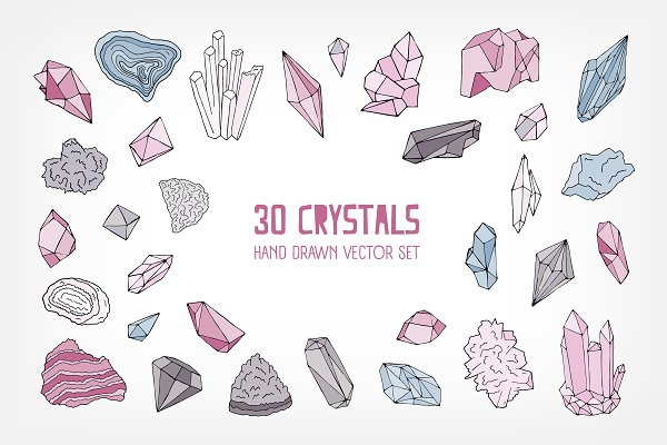 Crystals and gems vector collection
