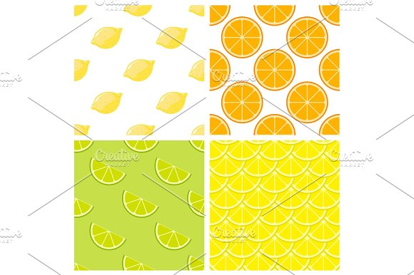 Citrus Fruits Bright Vector Seamless Pattern