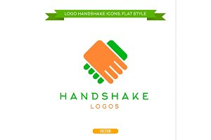 Abstract logo vector handshake flat style icon