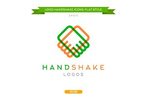 Abstract outline handshake vector logo flat style icon