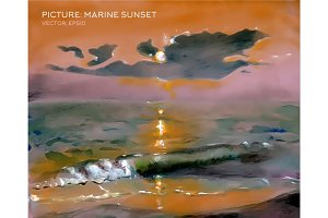 Painting, sunset sea, waves, oil on silk vector