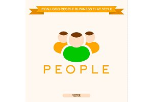 logo icon group of business people vector illustration flat
