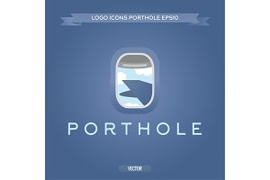 Porthole plane view of the clouds and wing vector logo icon