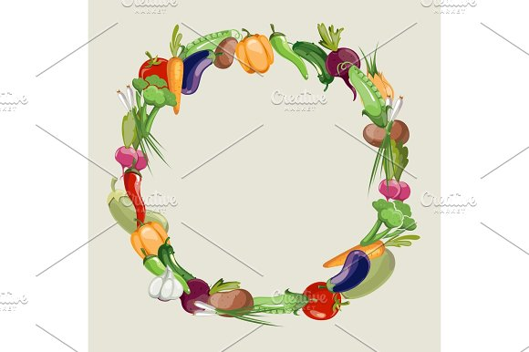 Vegetables Raw Food Vector Blank Frame
