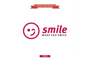logo winking smiley icons vector illustrations flat
