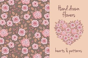 Flowers. Hearts & patterns.