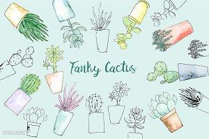 Watercolor Funky Cactus Vector
