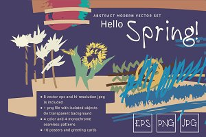 Abstract drawing vector spring set