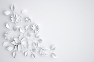 White paper flowers background
