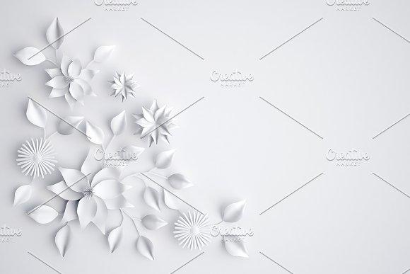 White Paper Flowers Background Illustrations Creative Market