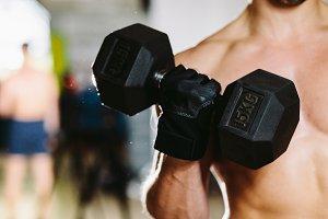 fitness man kettlebells workout