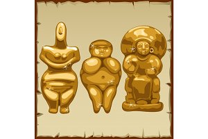 Set of three ancient Golden sculpture