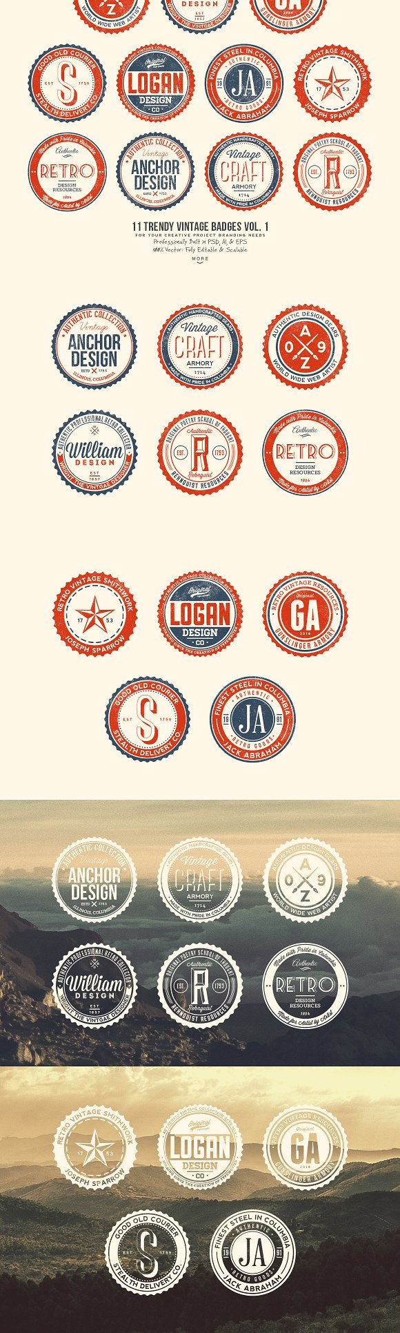 33 Trendy Vintage Badges Bundle Pack in Logo Templates - product preview 1
