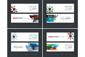 Vector set of modern horizontal website banners with many yellow