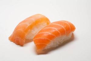 Two sushi with salmon, top view
