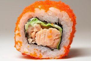 Sushi with caviar and salmon