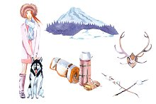 Winter Camping watercolor clipart