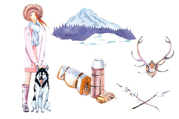 Snow watercolor. Winter camping clipart