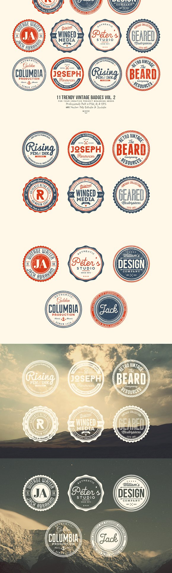 33 Trendy Vintage Badges Bundle Pack in Logo Templates - product preview 2