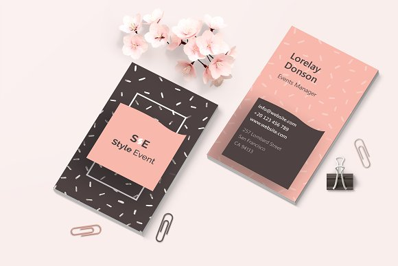 Stylish events business cards business card templates creative stylish events business cards business card templates creative market colourmoves
