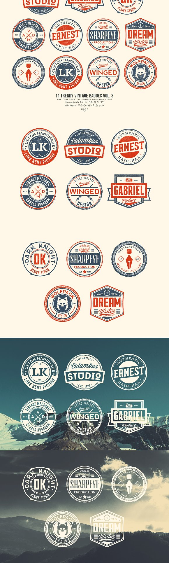 33 Trendy Vintage Badges Bundle Pack in Logo Templates - product preview 3