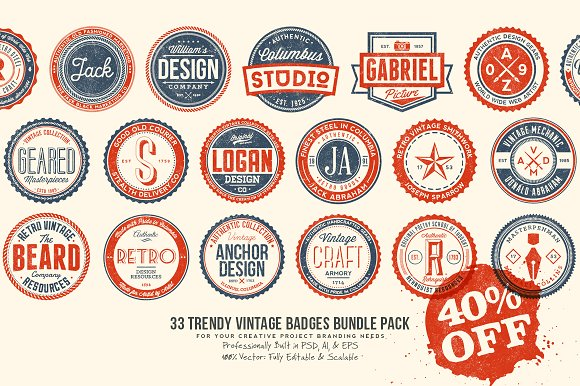 33 Trendy Vintage Badges Bundle Pack in Logo Templates - product preview 4