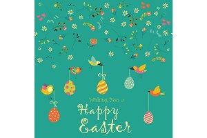Card with decorative eggs and birds