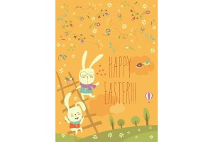 Funny easter bunnies with ladder