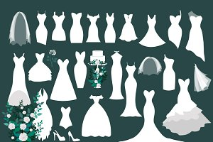 White Wedding Dress Vectors