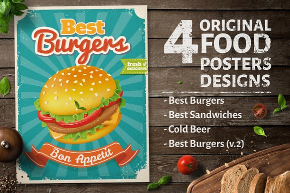 4 Original Food Poster Designs