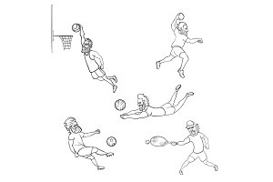 Set of athlete different sports