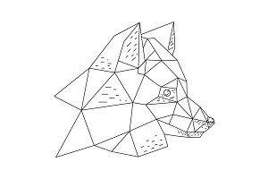 Triangular fox hand drawn illustration