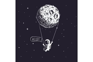 Cute astronaut riding a swing tethered to the moon